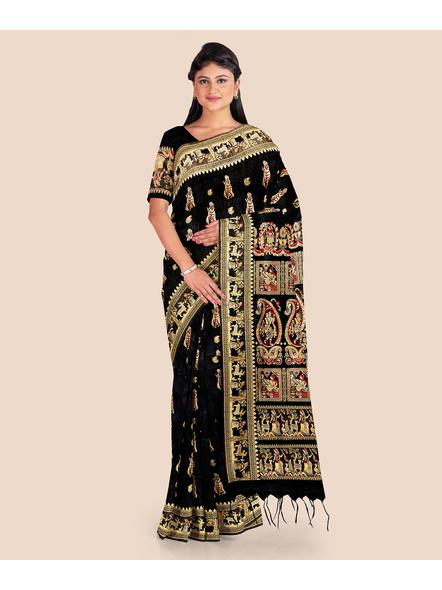 Baluchari Silk Blend Saree with Blouse Piece (Black)-LAABASS002