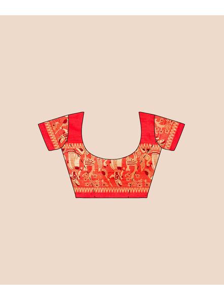 Baluchari Silk Blend Saree with Blouse Piece (Red)-5