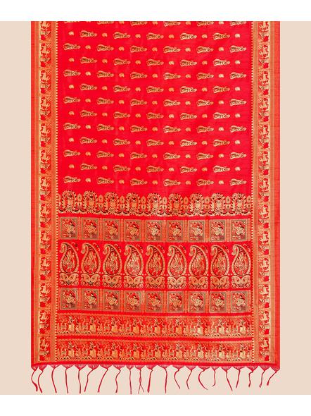 Baluchari Silk Blend Saree with Blouse Piece (Red)-3