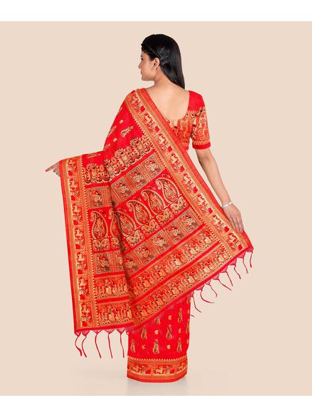Baluchari Silk Blend Saree with Blouse Piece (Red)-1