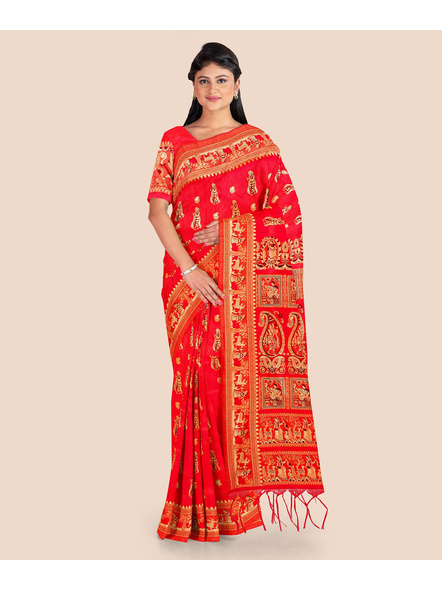 Baluchari Silk Blend Saree with Blouse Piece (Red)-LAABASS001