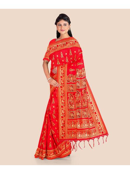Baluchari Silk Blend Saree with Blouse Piece (Red)-4