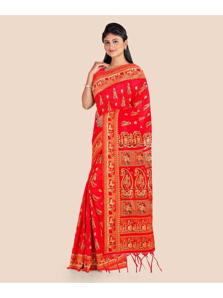 Baluchari Silk Blend Saree with Blouse Piece (Red)-2