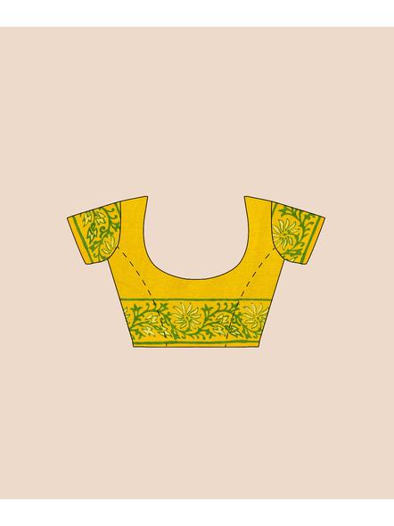 Red Lemon Green Printed Soft Art Silk Saree with Blouse piece-5