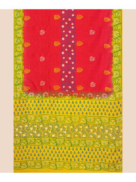 Red Lemon Green Printed Soft Art Silk Saree with Blouse piece-3