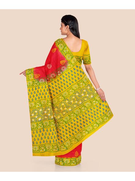 Red Lemon Green Printed Soft Art Silk Saree with Blouse piece-1
