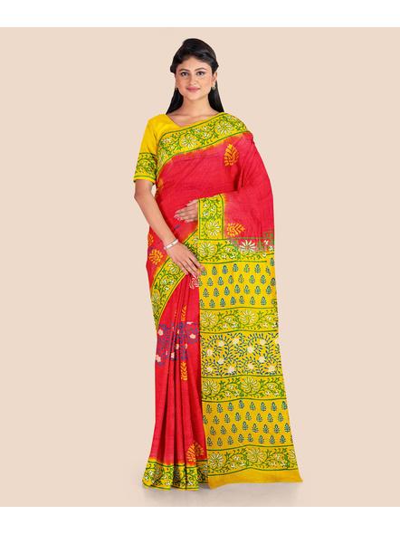 Red Lemon Green Printed Soft Art Silk Saree with Blouse piece-LAAPSS003