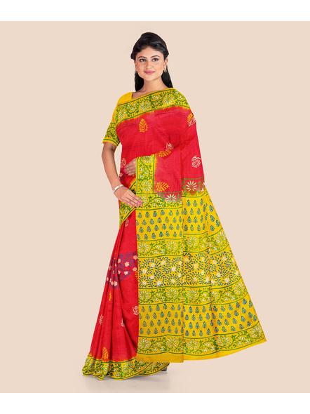 Red Lemon Green Printed Soft Art Silk Saree with Blouse piece-2