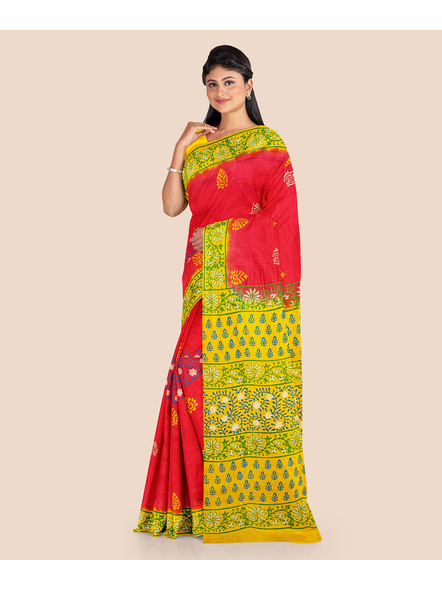 Red Lemon Green Printed Soft Art Silk Saree with Blouse piece-4