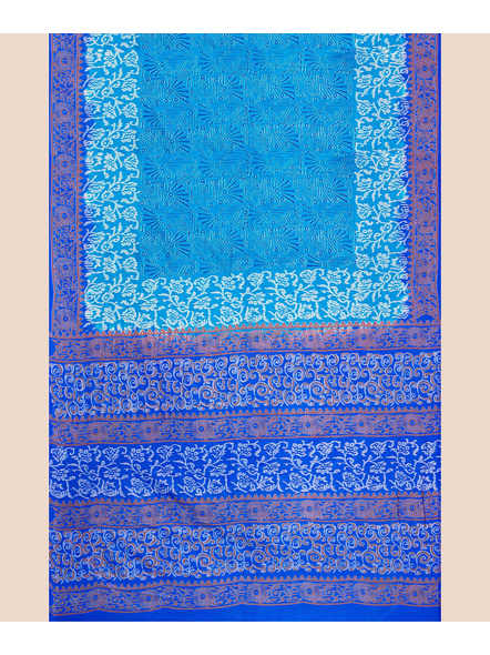 Turquoise Blue Floral Printed Soft Art Silk Saree with Blouse piece-3
