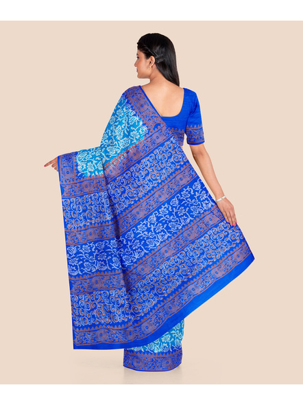 Turquoise Blue Floral Printed Soft Art Silk Saree with Blouse piece-1
