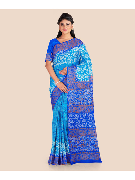 Turquoise Blue Floral Printed Soft Art Silk Saree with Blouse piece-LAAPSS002