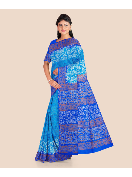 Turquoise Blue Floral Printed Soft Art Silk Saree with Blouse piece-4