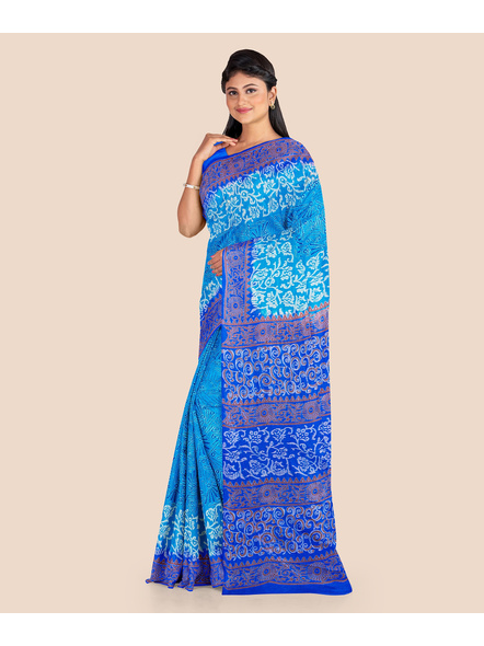 Turquoise Blue Floral Printed Soft Art Silk Saree with Blouse piece-2