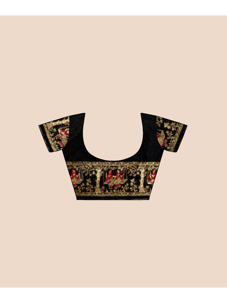 Baluchari Silk Blend Saree with Blouse Piece (Black)-6