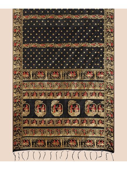 Baluchari Silk Blend Saree with Blouse Piece (Black)-5