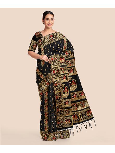 Baluchari Silk Blend Saree with Blouse Piece (Black)-LAABASS006