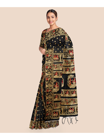 Baluchari Silk Blend Saree with Blouse Piece (Black)-4