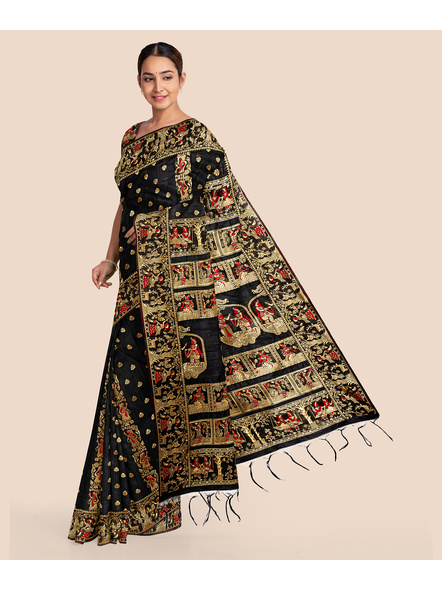 Baluchari Silk Blend Saree with Blouse Piece (Black)-2