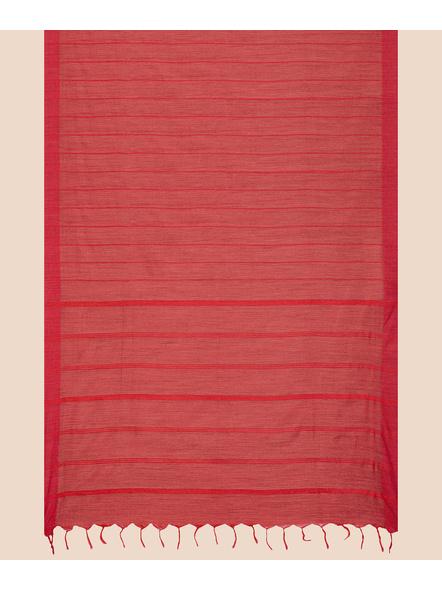 Handloom Bhagalpuri Cotton Ghicha Saree in Red-5