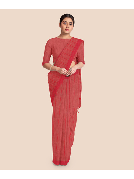 Handloom Bhagalpuri Cotton Ghicha Saree in Red-3