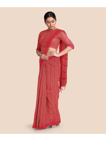 Handloom Bhagalpuri Cotton Ghicha Saree in Red-4