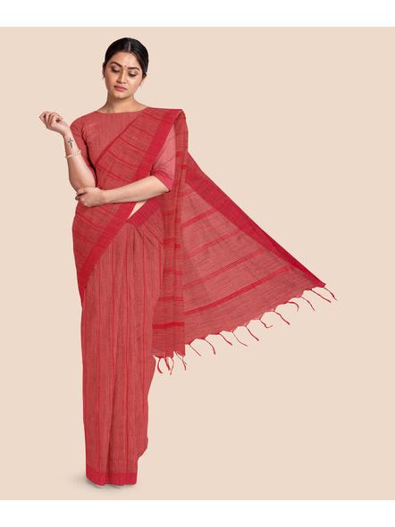 Handloom Bhagalpuri Cotton Ghicha Saree in Red-LAABPLC002