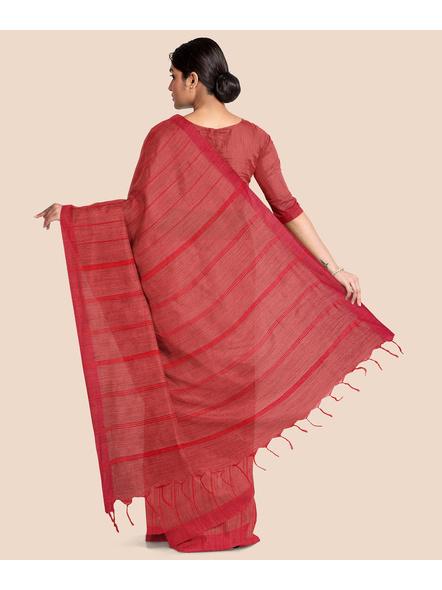 Handloom Bhagalpuri Cotton Ghicha Saree in Red-1