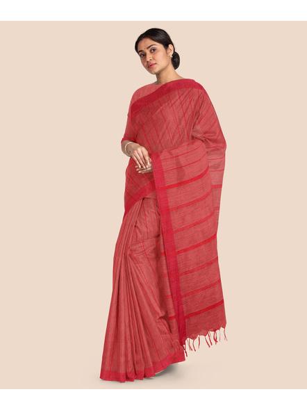 Handloom Bhagalpuri Cotton Ghicha Saree in Red-2