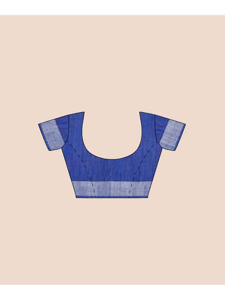 Bhagalpuri Blue Cotton Linen Saree with Silver Zari Border-6