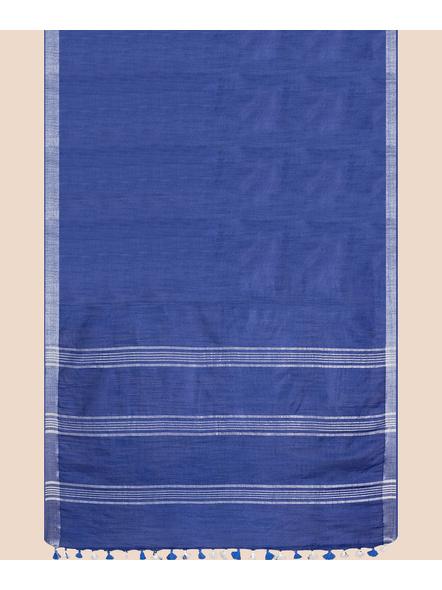 Bhagalpuri Blue Cotton Linen Saree with Silver Zari Border-5