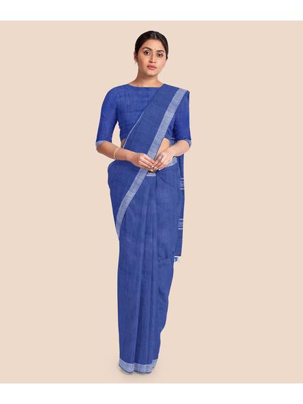 Bhagalpuri Blue Cotton Linen Saree with Silver Zari Border-LAABPLC003