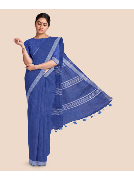 Bhagalpuri Blue Cotton Linen Saree with Silver Zari Border-3