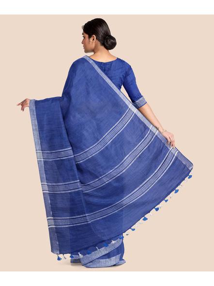 Bhagalpuri Blue Cotton Linen Saree with Silver Zari Border-1
