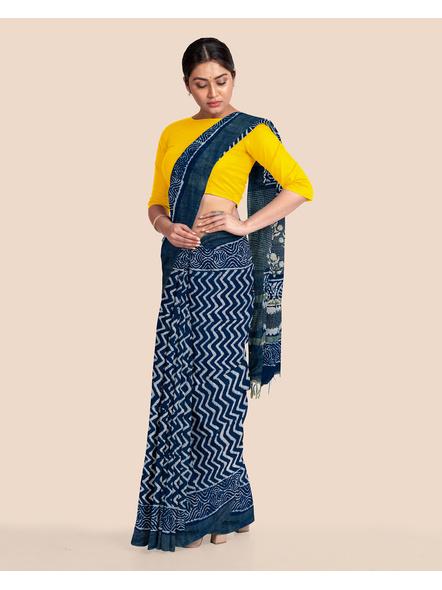 Indigo Hand Block Print Bhagalpuri Pure Linen Saree with Blouse Piece-4