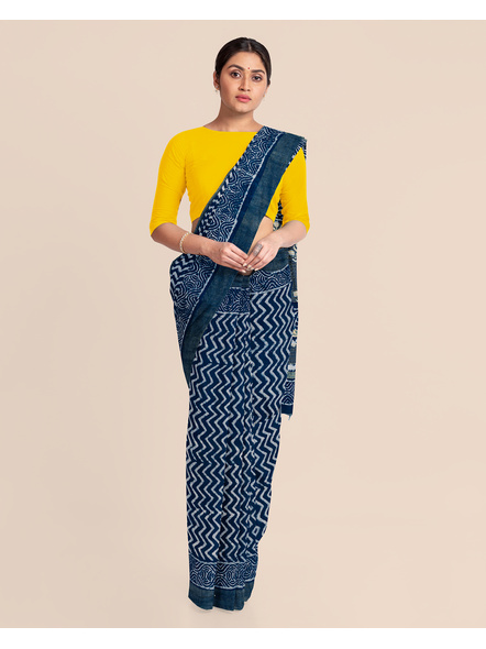 Indigo Hand Block Print Bhagalpuri Pure Linen Saree with Blouse Piece-2