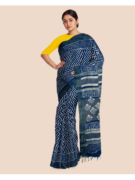 Indigo Hand Block Print Bhagalpuri Pure Linen Saree with Blouse Piece-3