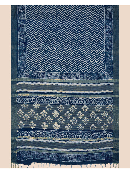 Indigo Hand Block Print Bhagalpuri Pure Linen Saree with Blouse Piece-1