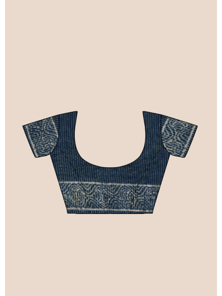 Indigo Hand Block Print Bhagalpuri Pure Linen Saree with Blouse Piece-5
