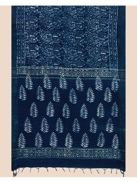 Bhagalpuri Handwoven Bhagalpuri Indigo Linen Saree with Blouse Piece-1
