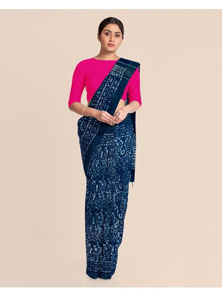 Bhagalpuri Handwoven Bhagalpuri Indigo Linen Saree with Blouse Piece-LAABILWBP001