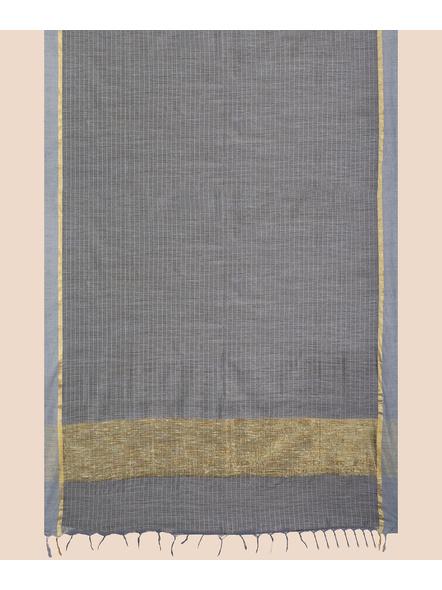 Handloom Bhagalpuri Cotton Ghicha Saree with Golden Zari Border in Grey-5