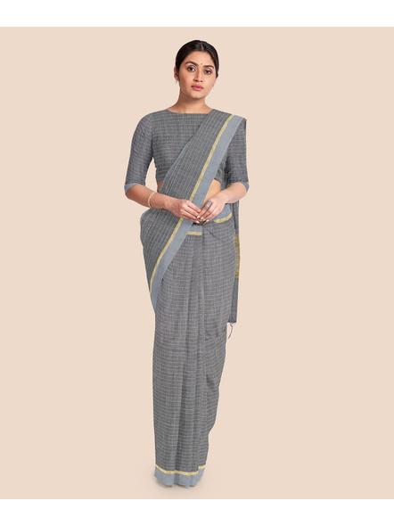 Handloom Bhagalpuri Cotton Ghicha Saree with Golden Zari Border in Grey-2