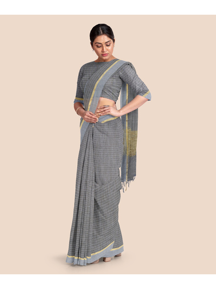 Handloom Bhagalpuri Cotton Ghicha Saree with Golden Zari Border in Grey-4