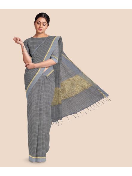 Handloom Bhagalpuri Cotton Ghicha Saree with Golden Zari Border in Grey-LAABPLC001