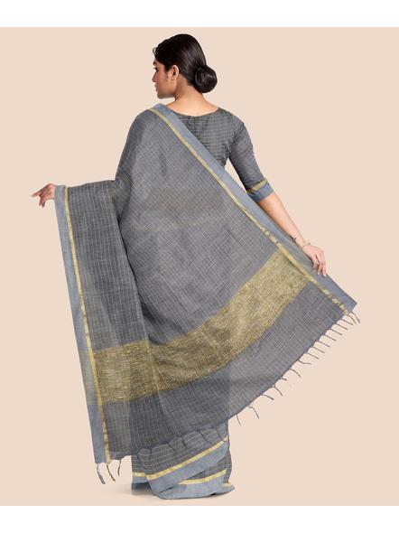 Handloom Bhagalpuri Cotton Ghicha Saree with Golden Zari Border in Grey-1