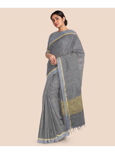 Handloom Bhagalpuri Cotton Ghicha Saree with Golden Zari Border in Grey-3