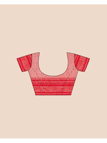 Cream Red Handwoven Khadi Cotton Begumpuri Mahapaar Saree with Blouse Piece-6