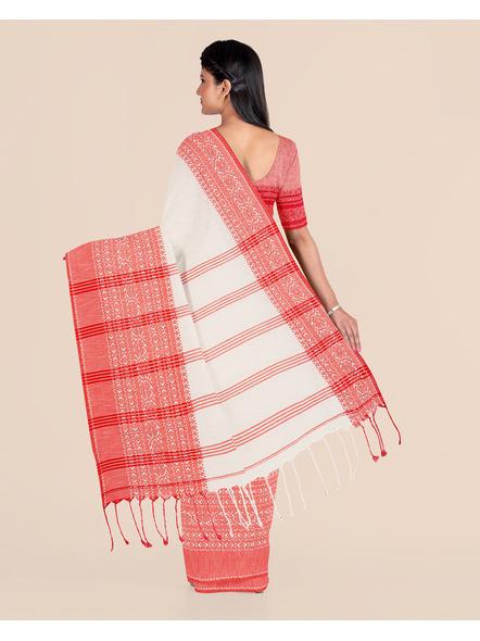 Cream Red Handwoven Khadi Cotton Begumpuri Mahapaar Saree with Blouse Piece-1