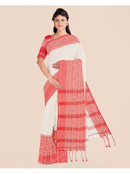 Cream Red Handwoven Khadi Cotton Begumpuri Mahapaar Saree with Blouse Piece-LAAHKBSWBP004